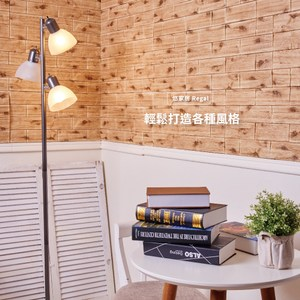 【悠家居Regal】台灣製3D立體防撞吸音泡棉壁貼磚-樹屋褐(4片)60x30cm