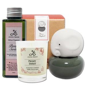 ThaiScent泰香 藍色大象mini擴香精香氛蠟燭超值組摩洛哥玫瑰