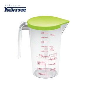 【日本Kakusee料理道具】透明附蓋量表醬料壺綠色