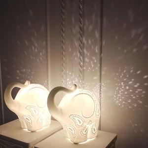 [TML]英倫風陶瓷大象夜燈/桌燈~愛媛家居白色