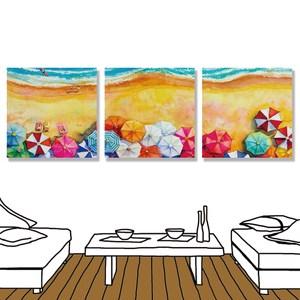 【24mama 掛畫】三聯式 油畫布 無框畫 30x30cm-家庭渡假油畫布無時鐘