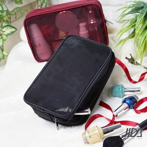 【JIDA】網美款網紗雙層雙拉鍊防水化妝包/盥洗包黑色