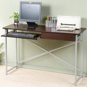 Homelike 超值附抽電腦桌-寬120公分-胡桃色
