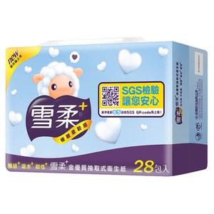 【雪柔】金優質抽取式衛生紙100抽*28包*3串/箱