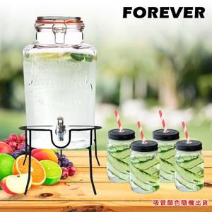 【日本FOREVER】夏天必備派對玻璃果汁飲料桶(含桶架)6L贈寬口梅