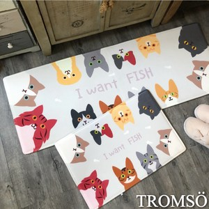 TROMSO巴黎樂活短毛絨地墊(長+短套組)-M712貪吃小貓