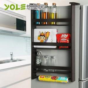 【YOLE悠樂居】冰箱側壁掛架多功能廚房置物架-三層(咖啡色)