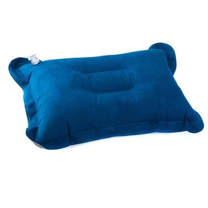 【PUSH!登山戶外旅遊用品】舒適麂皮絨充氣枕頭(一入)P48-1藍色