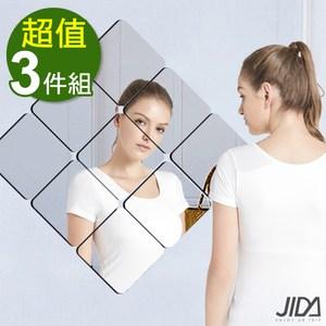 【佶之屋】居家佈置DIY圓弧角加厚背膠鏡面貼 15x15cm(3件組)鏡面銀 6入X3