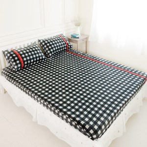 【奶油獅】格紋系列-100%精梳純棉床包三件組-黑(雙人5尺)