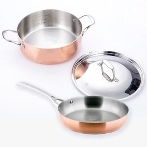 (組)LASSAN蘿莎不鏽鋼湯鍋+煎鍋26cm HOLA