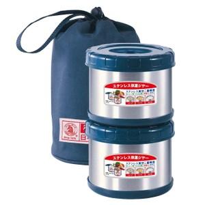 【日本寶馬】不鏽鋼真空保溫便當盒SHW-GL-500X2藍色