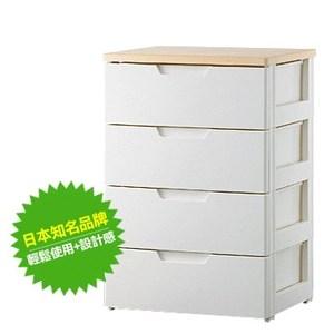 日本IRIS四層抽屜收納櫃W55白色