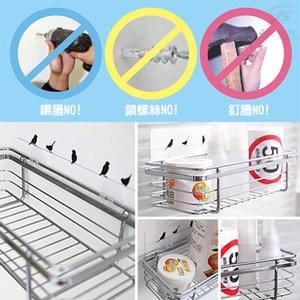 金德恩 台灣製造 無痕魔術貼廚衛瓶罐金屬淺型收納置物架 白色膠片組