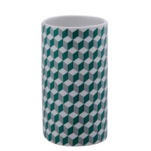 HOLA home格緻陶瓷漱口杯 綠灰