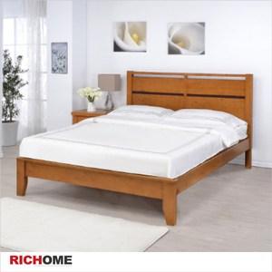 【RICHOME】艾得雙人床柚木色