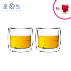【FUSHIMA 富島】英倫系列雙層耐熱玻璃杯330ML*2入贈草莓杯單一規格
