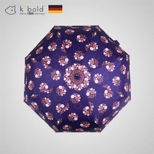 【德國kobold酷波德】紫胭醉夢-超輕巧按摩手把抗UV三折傘-藍紫伴玫