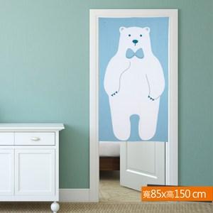 北極熊日式印花門簾 藍色 寬85x高150cm