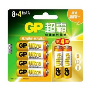 GP 超能量鹼性電池3號8+4 Ultra