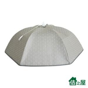 【佶之屋】日式簡約加大可折疊骨架式保溫飯菜罩(80X80cm)灰色小花