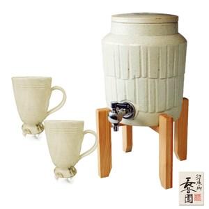 【日本長谷園伊賀燒】遠紅外線負離子陶水壺(白)贈日式陶土杯(白釉把手款
