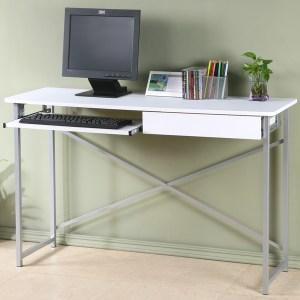 Homelike 超值附抽電腦桌-寬120公分-純白色