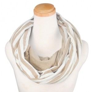 簡約針織條紋圍巾組米白