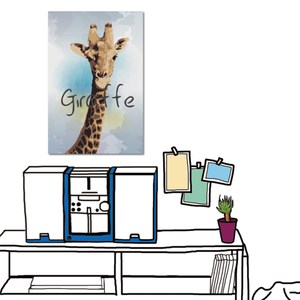 24mama掛畫-單聯式 北歐風 長頸鹿 動物 插畫風無框畫-40x60cm