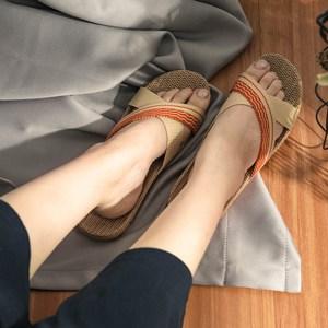 樂嫚妮 亞麻拖鞋 室內外居家拖鞋-女亞麻拖交叉紅35-36