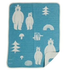 瑞典Klippan有機棉毯--熊熊好朋友(水星藍)