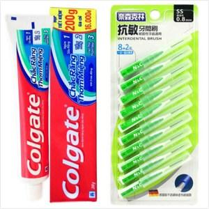 【Colgate 高露潔】牙膏(200g*12)+牙間刷0.8mm(10支)*6