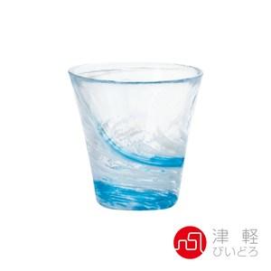 日本ADERIA津輕 漩渦玻璃燒酌杯260ml-藍