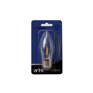 WTC LED E27 0.9W 單片式 蠟燭燈炮 清光黃