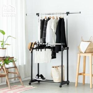 【Amos】日系簡約雙桿伸縮吊衣架/曬衣架黑色