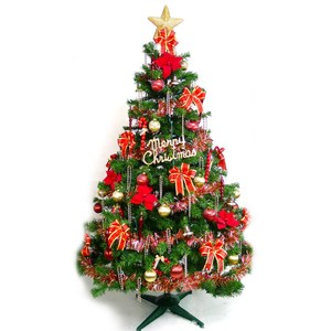 摩達客 台製7尺豪華版裝飾綠聖誕樹+紅金色系配件組(不含燈)