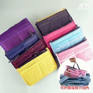 【佶之屋】炫彩加厚雙拉鍊防潑水手提包中袋紫色