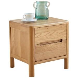 原木日式流雲白橡木實木二抽床頭櫃w0517