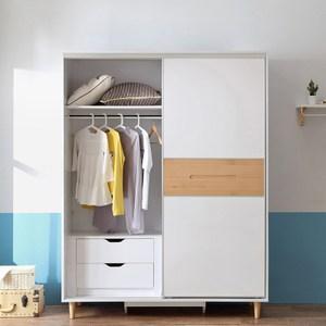 林氏木業北歐櫸木現代簡約臥室滑門衣櫃組合DK1D+DK3D