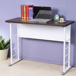 Homelike 查理100x40工作桌-加厚桌面胡桃色桌面/白腳