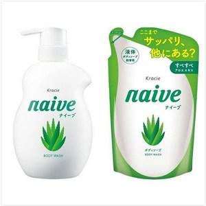 日本 kracie 葵緹亞 Naive 娜艾菩植物沐浴乳-水潤蘆薈組(530ml+380ml*2)
