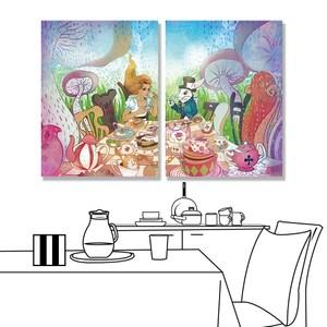 【24mama 掛畫】二聯式 油畫布 無框畫30x40cm-瘋狂茶會油畫布無時鐘