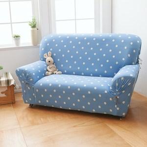 【格藍傢飾】雪花甜心涼感彈性沙發套-蘇打藍1人