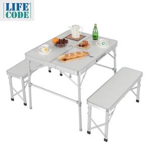 【LIFECODE】尊爵二世-鋁合金折疊桌椅-野餐桌/仲介洽談桌/休閒桌椅