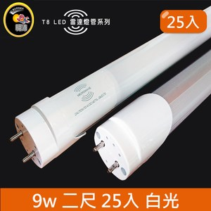 HONEY COMB LED T8-2尺9w 白光雷達感應燈管 25入