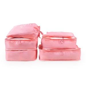 PUSH!旅遊用品旅行收納袋衣物收納袋(6件套雅緻型)粉紅S55粉紅