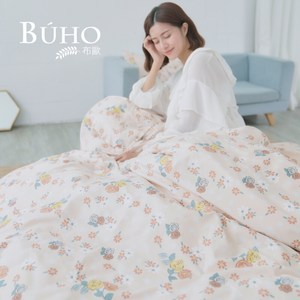 BUHO 雙人加大四件式舖棉兩用被床包組(春美日好)