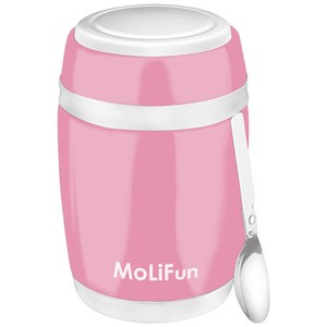 MoliFun魔力坊 不鏽鋼真空保鮮保溫燜燒食物罐480ml 櫻花粉