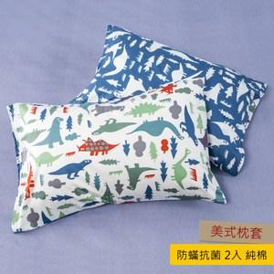 HOLA 恐龍公園防蟎抗菌純棉枕套 2入