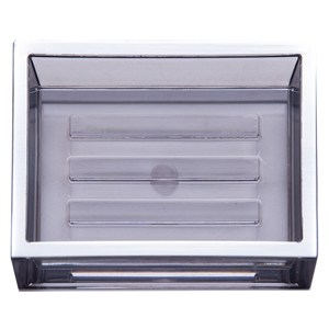 HOLA 現代方框肥皂盤 水晶銀